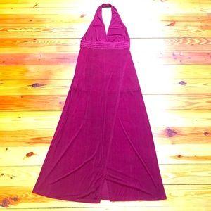 Dainty Maroon Halter Maxi Dress, NWT, L